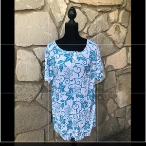 PLEATS COLLECTION Swim Cover Up Tunic Top Sz 3XL